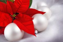 Red and silver Christmas arrangement Stock Photos
