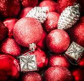 Red silver Christmas background with decorations, balloons and gift boxes Stock Photography