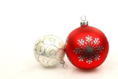 Red and silver christmas ball. Isolated on a white background Stock Image
