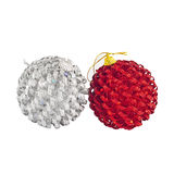Red and silver christmas ball Royalty Free Stock Image