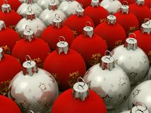 Red and Silver Christmas Balls. 3d render of Red and Silver Christmas Balls arranged in a grid Stock Photo