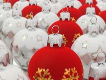 Red and Silver Christmas balls. Digital render of christmas balls with depth of field Stock Images