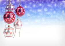 Red and silver christmas balls hanging on bokeh background. 3D render Stock Photo