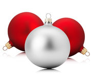 Red and silver Christmas balls isolated on the white background Stock Images