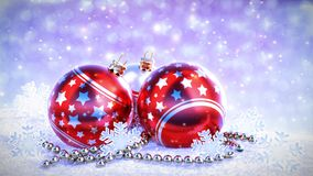 Red and silver christmas balls on snow with glitter bokeh background. Seamless loop. 3D render stock video footage