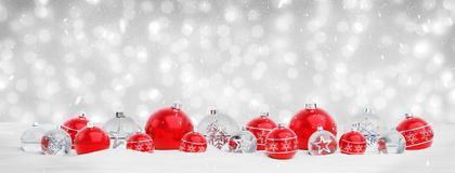 Red and silver christmas baubles isolated 3D rendering vector illustration