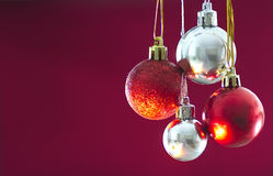 Red and silver Christmas Baubles stock photography