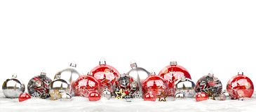 Red and silver christmas baubles isolated 3D rendering royalty free illustration
