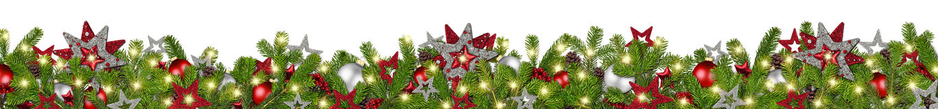 Free Red Silver Christmas Garland Super Wide Fir Branches Panorama Royalty Free Stock Images - 80169019