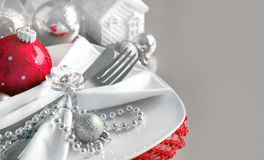 Red and silver Christmas ornaments border Stock Image