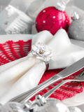 Red and silver Christmas ornaments border Royalty Free Stock Photography