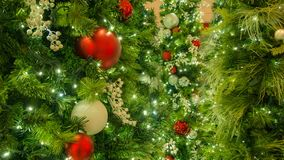 Red And Silver Christmas Ornaments In Left Of Frame royalty free stock images