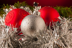 Red and silver christmas ornaments Stock Photography