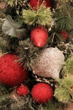 Red and silver Christmas ornaments Stock Photos