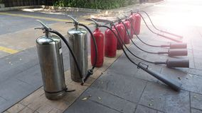 Red and silver color of fire extinguisher tank Stock Image