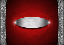 Red and Silver Floral Background with Metal Plate Royalty Free Stock Images
