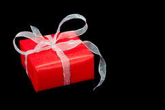 Red and Silver Gift Box Stock Photo