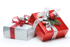 Red and silver gift box Royalty Free Stock Image