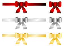 Red silver gold bow isolated Stock Photos