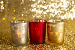 Red, silver and gold candlesticks Stock Photo
