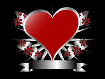 Red and Silver Heart Illustration on Black Royalty Free Stock Photo