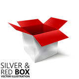 Red and silver open box 3D/  illustration. Design element Stock Photos