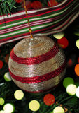 Red and silver ornament with christmas lights Royalty Free Stock Images
