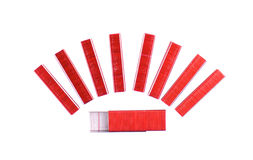 Red and silver staple put arranged isolated Royalty Free Stock Photography