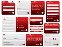 Red and silver web forms