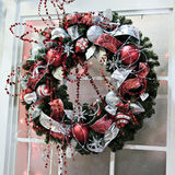 Red and Silver Wreath Royalty Free Stock Photography