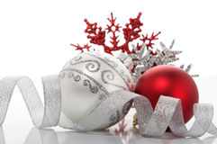 Red and silver xmas decoration Royalty Free Stock Photos