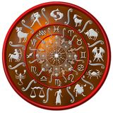 Red and silver zodiac disc. Illustrated red and silver floral zodiac disc with symbols royalty free illustration