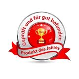 Shiny award ribbon designed for the German retail market - Product of the Year. Red and silverish shiny award ribbon designed for the German retail market. Text Royalty Free Stock Photo