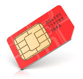 Red SIM card Stock Photo
