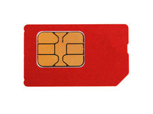 Red sim card Royalty Free Stock Photo