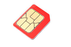 Red SIM card. Isolated on a white background macro Royalty Free Stock Photos