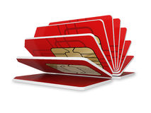 Red SIM card Stock Images