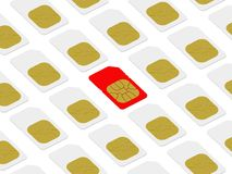 Red SIM card within white ones Royalty Free Stock Image