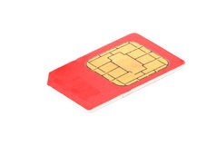 Red simcard. Isolated on white background Royalty Free Stock Photos