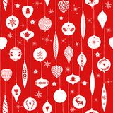 Red simple christmas balls for holiday celebrations Scandinavian Nordic style. Christmas, new year toys. Seamless. Pattern of christmas balls with simple royalty free illustration