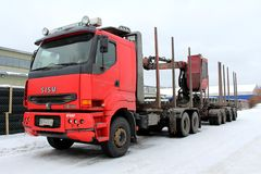 Red Sisu Logging Truck Stock Image