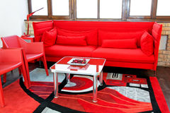 Red sitting area Royalty Free Stock Photo
