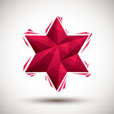 Red six angle star geometric icon, 3d modern style Royalty Free Stock Image