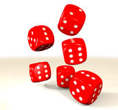 Red six dice Royalty Free Stock Photos