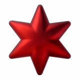 Red six-pointed star, Christmas tree decoration Royalty Free Stock Images