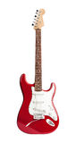 Red six-stringed electric guitar isolated on white Stock Photo
