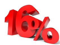 Red sixteen percent off. Discount 16%. Stock Photography