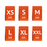 Red Size Clothing Labels Set. Vector Stock Photos