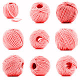 Red skein of woolen thread collection isolated on white background Stock Photography