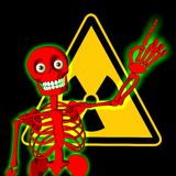 Red skeleton with symbol of radiation warning Royalty Free Stock Photography